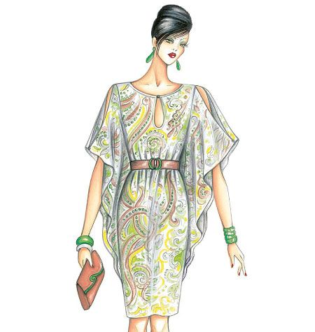 Marfy Dress kaftan style, belted, butterfly sleeves, exposed shoulders, boat neck
