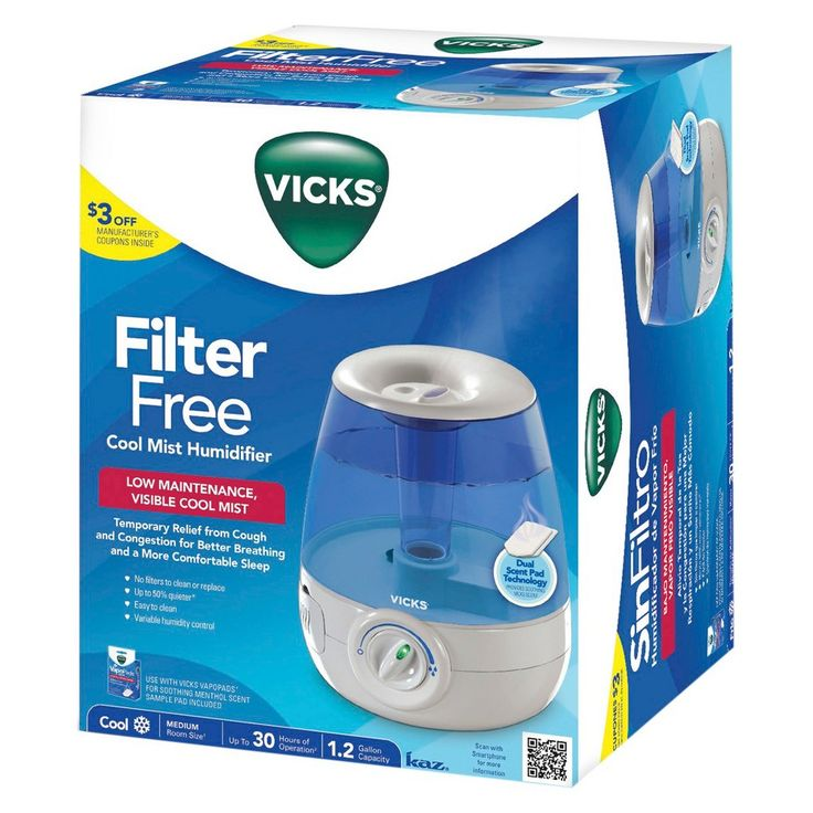 Vicks Filter Free Cool Mist Humidifier, Blue