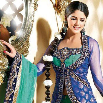 Blue and Sea Green Net A-Line  Lehenga Choli with Dupatta