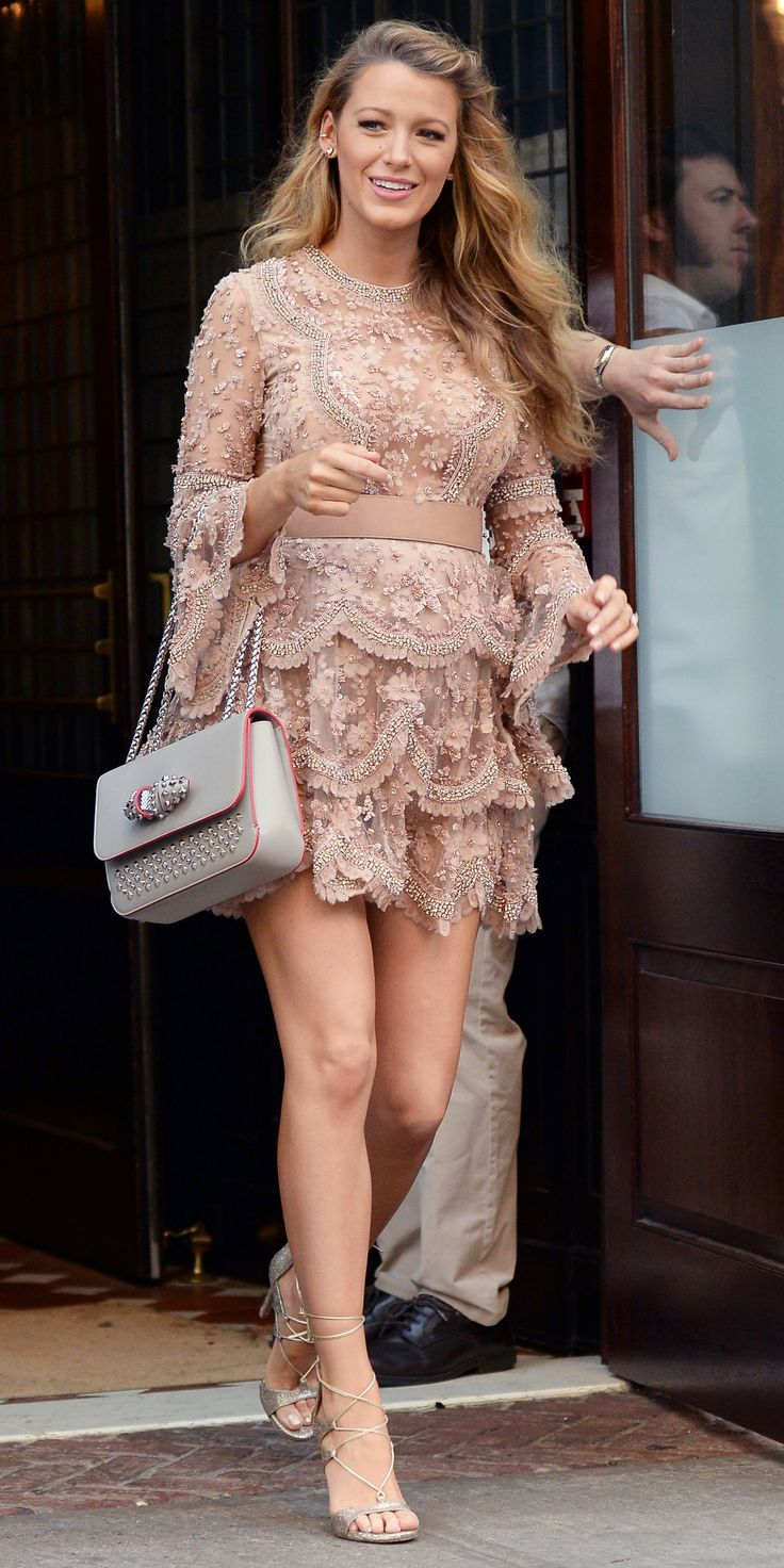 "Pregnant Blake Lively Talks About Being ""Breeders"" with Ryan Reynolds, Wows in a Semi-Sheer Nude Mini from InStyle.com"