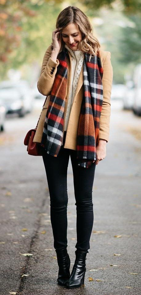 Plaid Scarf // Camel Coat // Black Skinny Jeans // Leather Ankle Boots // White Knit                                                                             Source