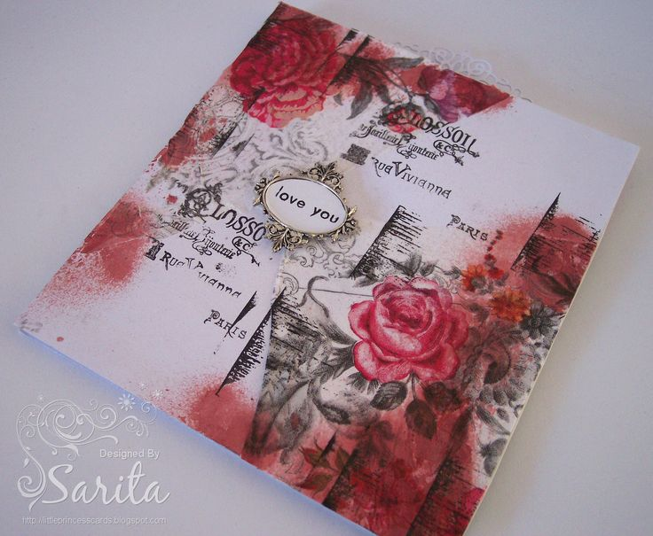 Handmade card using floral napkin in red and pink roses, which has been decoupaged and then hand stamped in black ink. Mixed media style technique using Mod Podge. DIY shimmer spray.
