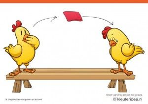 Bewegingskaarten kip voor kleuters 16, De pittenzak overgooien op de bank , kleuteridee.nl , thema Lente, Movementcards for preschool, free printable.