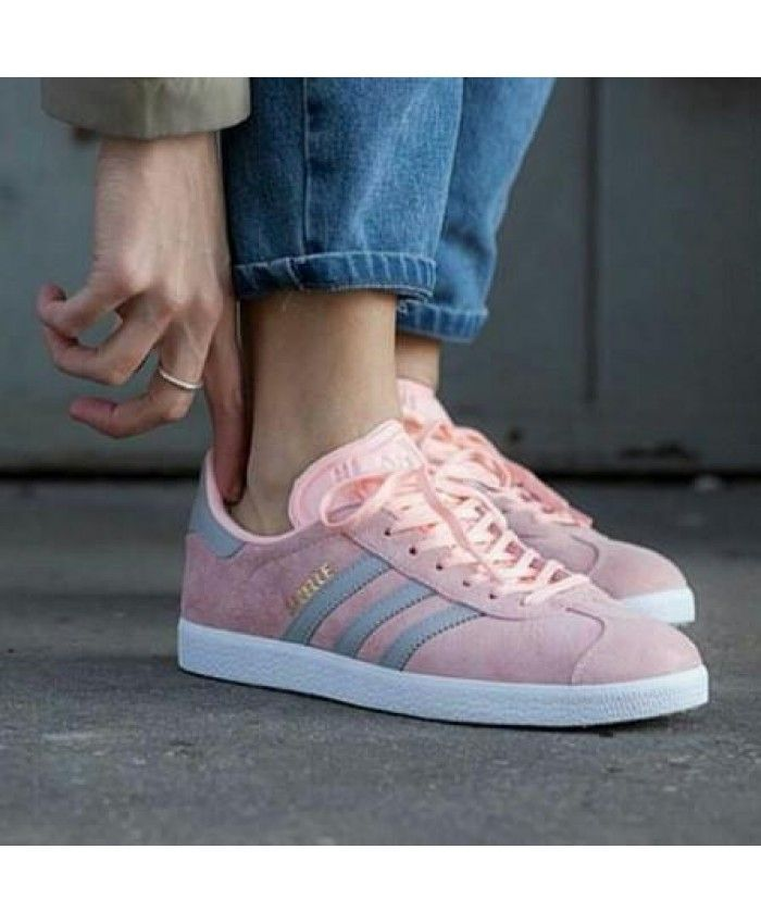Adidas Gazelle Womens Trainers In Raw Pink White   Shoes and
