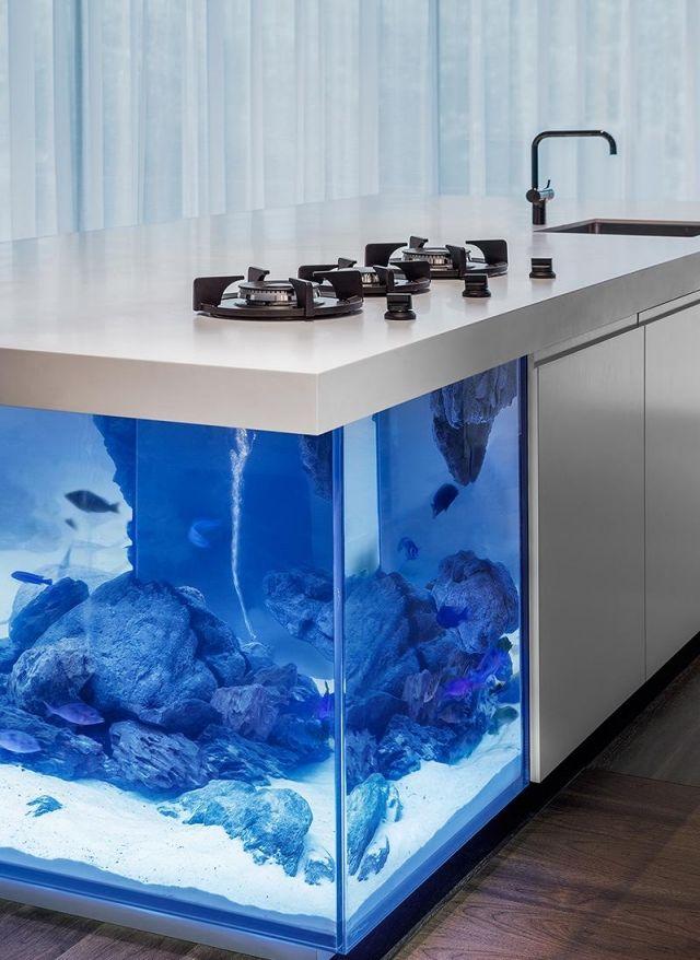 design küche mit weißen fronten-ausreichend stauraum-einbaugeräte aquarium