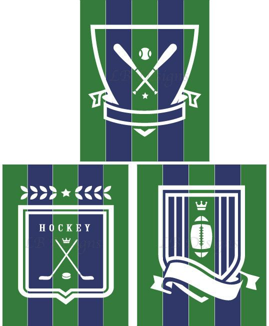 Pottery Barn Varsity Decor Navy Blue and Green Sports Nursery/Boy's Bedroom Print  by LJBrodock, $25.00