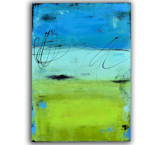 24x36 Blue and Green Abstract PAINTING on canvas