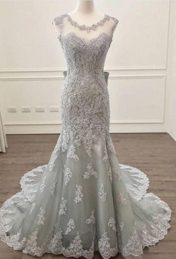 elegant silver lace prom dress mermaid prom dresses bow back