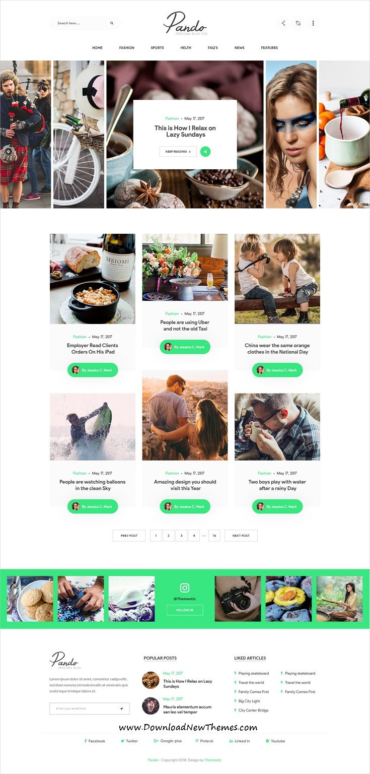 5e3bcb3c98b Pando is clean and modern design PSD  theme for personal  blog and  bloggers