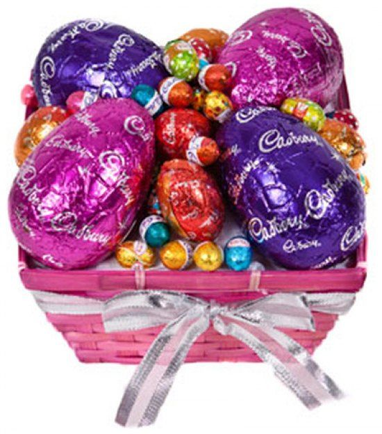 7 best easter images on pinterest easter hampers flowers a vibrant pink weaved planter basket filled with an assortment of delicious easter chocolates 4 x cadbury milk chocolate easter eggs 5 x cadbury milk negle Image collections