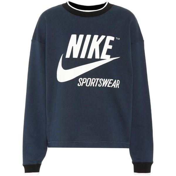 Nike Printed Cotton-Blend Sweatshirt ($79) ❤ liked on Polyvore featuring tops, hoodies, sweatshirts, blue, nike top, blue sweatshirt, blue top, nike and nike sweatshirts