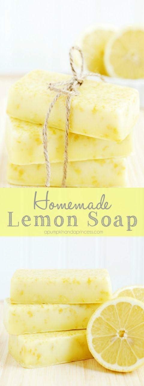 How to make lemon soap - this homemade lemon soap smells amazing and makes a lovely handmade gift!