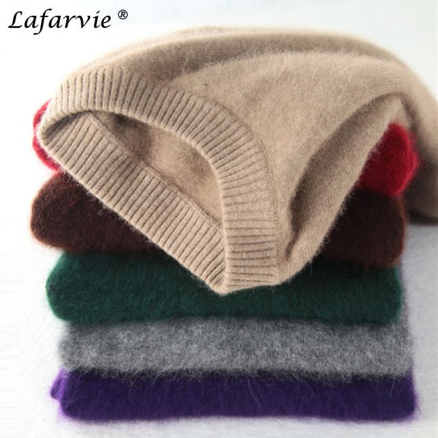 Sale $27.95, Buy Lafarvie Fashion Mink Cashmere Blended Men Knitted Sweater Autumn Winter Off Sale Standard Solid Pullover Full Sleeve O-Neck