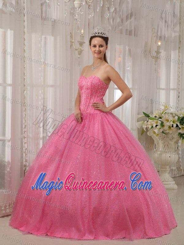 Pink Sweetheart Floor-length Beaded Dress For Quince in Aachen