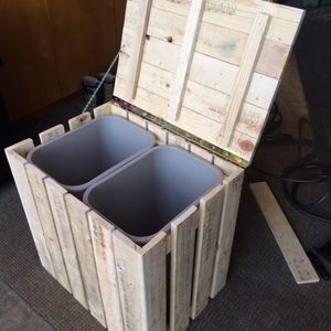 Check out this project on RYOBI Nation - My wife wanted to have the trash and recycle together in something that looked like a piece of furniture in the kitchen. I came up with this idea after looking at several in home stores that were way to expensive and had no charm. This took about 4 hours from start to finish using 100% recycled pallet wood. My wife did a whitewash finish that kept the rustic charm. It is strong enough to stand or sit on but is light enough to move easily if needed.