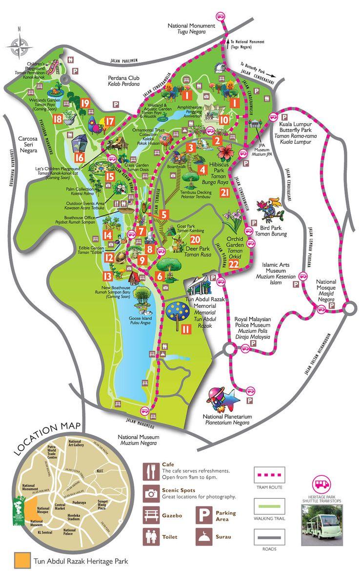 Botanical Garden, Birds Park, Batterfly Park And Many More Interestiong  Plaeces On Tun Abdul Razak Heritage Park Map, Kuala Lumpur, Malaysia.