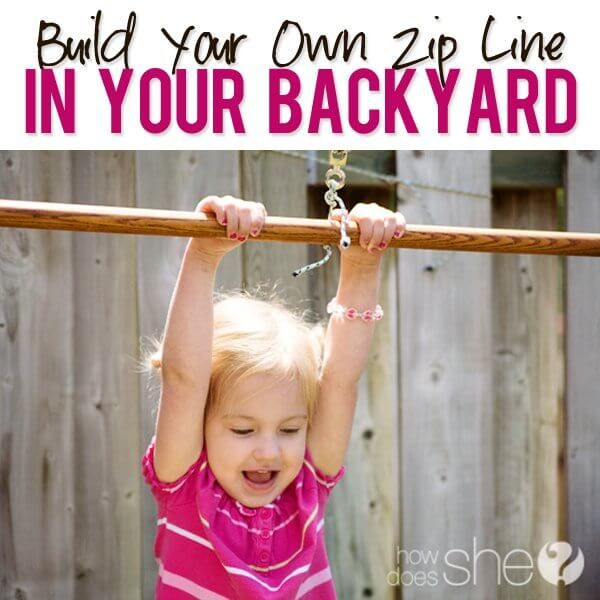 Build Your Own Zipline in Your Backyard by How Does She | Budget Backyard Project Ideas