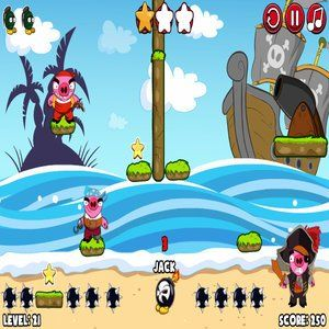 Pirate pigs have invaded the island! Use each bomb's special ability to destroy the pigs and collect the stars along the way. Fight your enemies, score points, collect stars, and become the best commander ever. Use each bomb's abilities as best as possible, and destroy all the pirate pigs who've taken over the island. Good luck!
