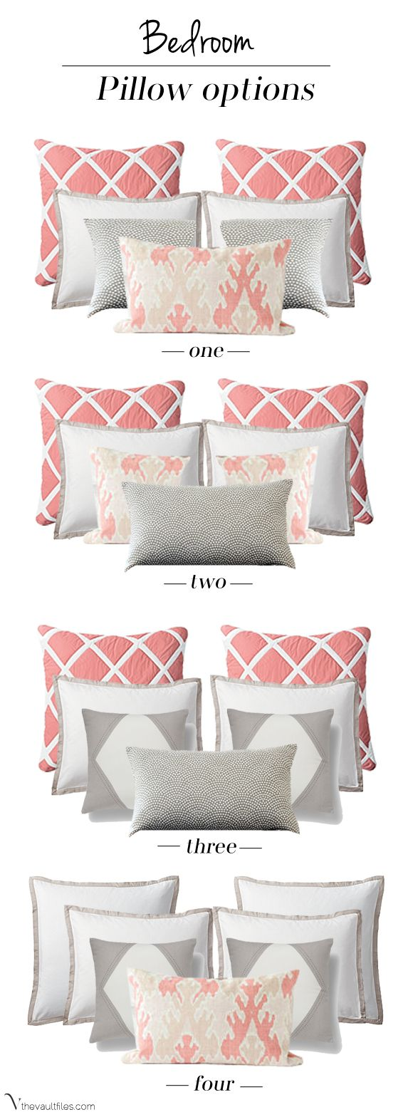 When it comes to accessorizing with accent pillows @Barbara Acosta Acosta Acosta Acosta Wirth Art finds there are so many questions ... choosing how many pillows, what size pillows, what fabric on which pillows. However, this chart of pillow groupings will help to stop agonizing and get ordering.