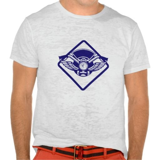 Motorbike Handlebar Headlamp Wings Diamond Retro T-shirt. Illustration of a motorbike handlebar and headlamp with wings viewed from front set inside diamond shape done in retro style. #Illustration #MotorbikeHandlebarHeadlampWings