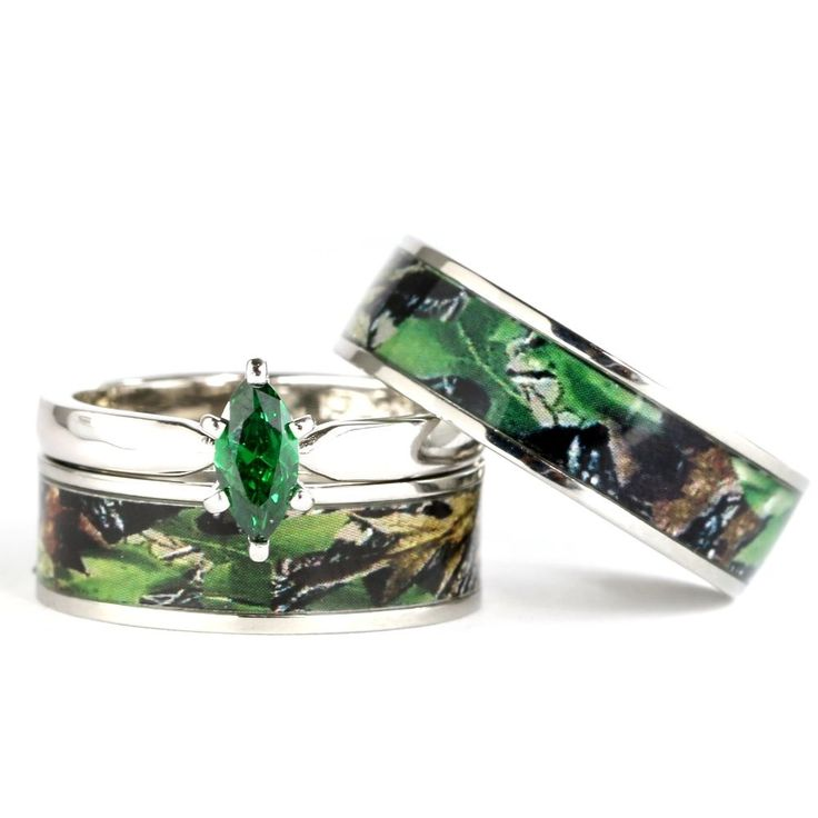 realtree wedding invitations%0A His  u     Hers Camo Green Marquis Stainless Steel  u     Sterling Silver Wedding  Ring Set