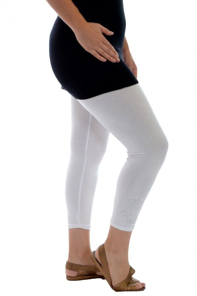 Embellished Butterfly Foil Cropped Leggings - White