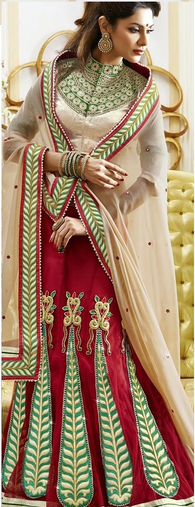 Khazanakart Heavy Embroidery Chiffon, Shimmer and Net Saree in Beige and Red Color