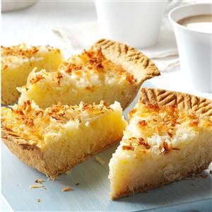 Coconut Macaroon Pie Recipe -Coconut macaroons are divine, but they can be a little messy to make. I turned the batter into a pie filling, and the luscious results speak for themselves. —Becky Mollenkamp, St. Louis, Missouri