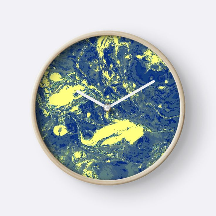 """Yellow blue marble texture. "" Clocks by kakapostudio 