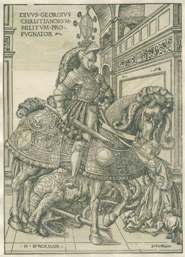 Sint-Joris met prinses en gedode draak, Hans Burgkmair (der Ältere), Jost de Negker, 1508