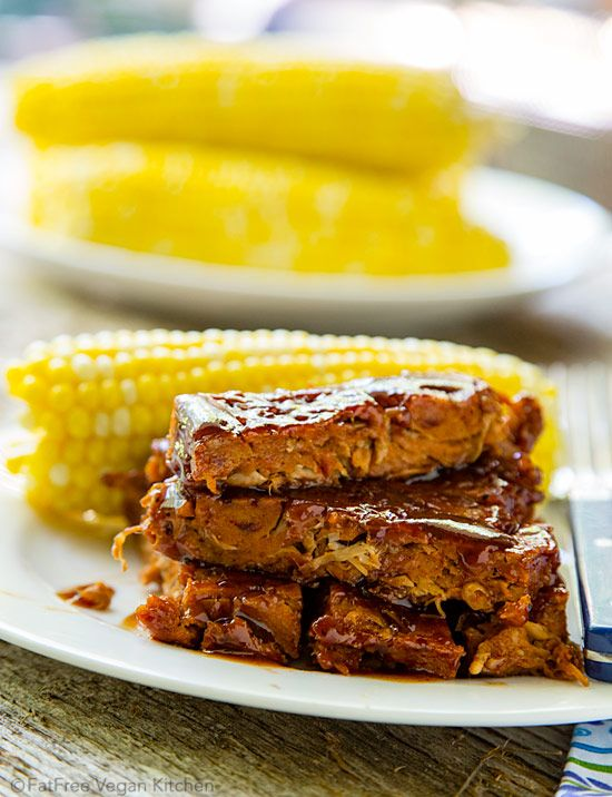 Jackfruit adds moisture and a pull-apart texture to these incredible seitan-based vegan ribs. No one will believe they are fat-free!