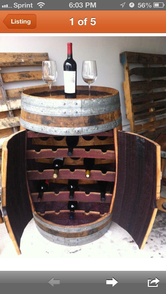 Wine barrel wine rack ☺LOVE!