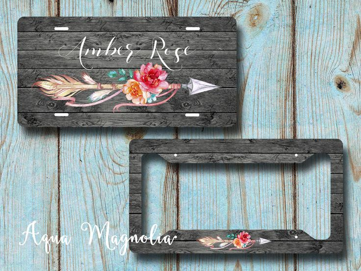 Floral Tribal Arrow, Rustic, Dark Weathered Wood - License Plate Frame - Personalized - License Plate Set - Monogrammed - License Plate by AquaMagnolia on Etsy