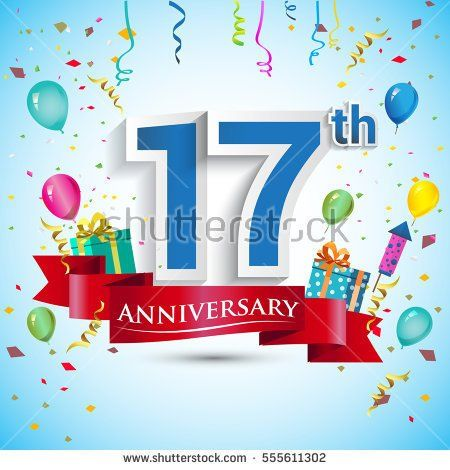 17th Anniversary Celebration Design, with gift box and balloons, Red ribbon, Colorful Vector template elements for your, seventeen years birthday celebration party.