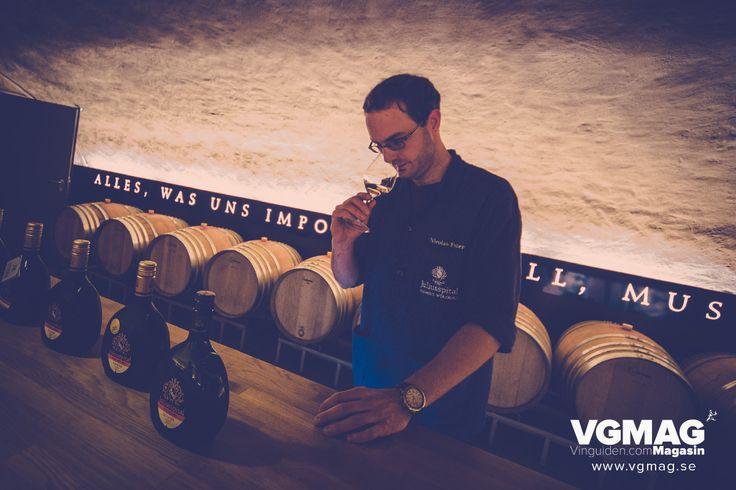 Nicolas Frauer, wine maker at Juliusspital tastes their great Silvaner.