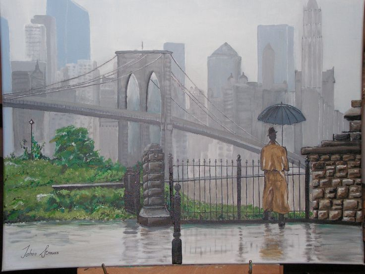 Acrylic on canvas - A rainy day in NYC