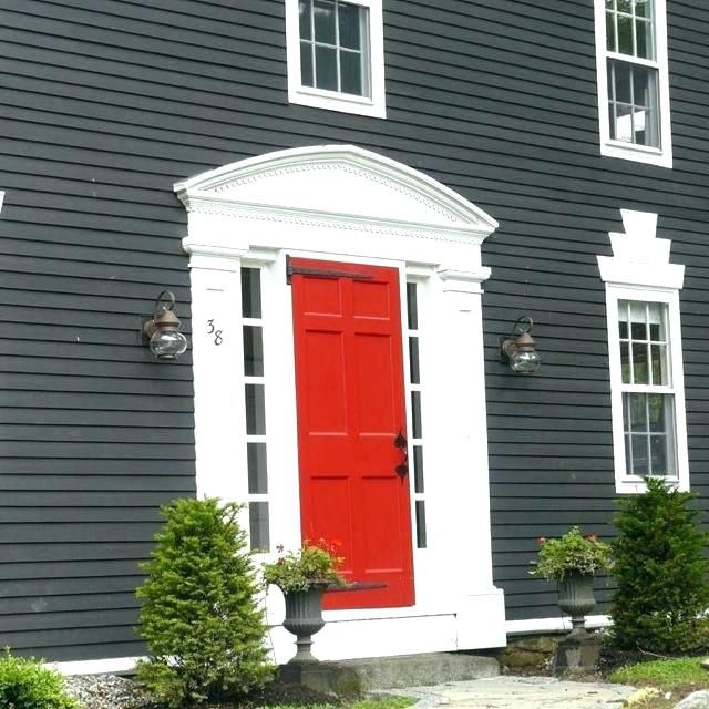 Dark Grey Houses Gray House Red Door Black Houses Home Exterior Paint Ideas Dark Grey And Bright Gray House House Paint Exterior Red Door House House Exterior