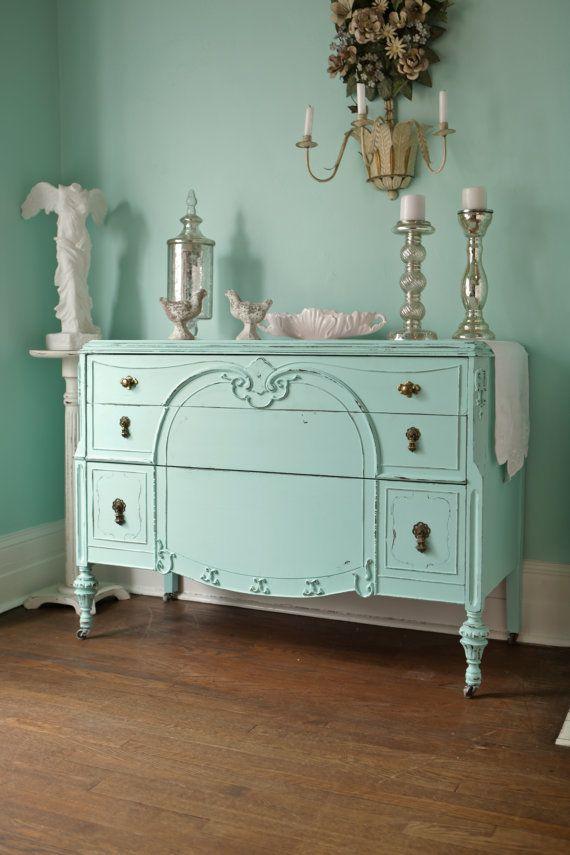 Custom Order Antique Dresser Shabby Chic Distressed Aqua