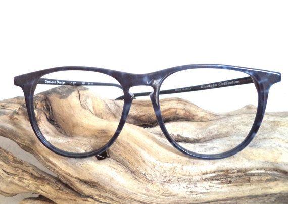 1980s  Lapis Blue HUGE Eyeglasses NOS Italian by MushkaVintage3