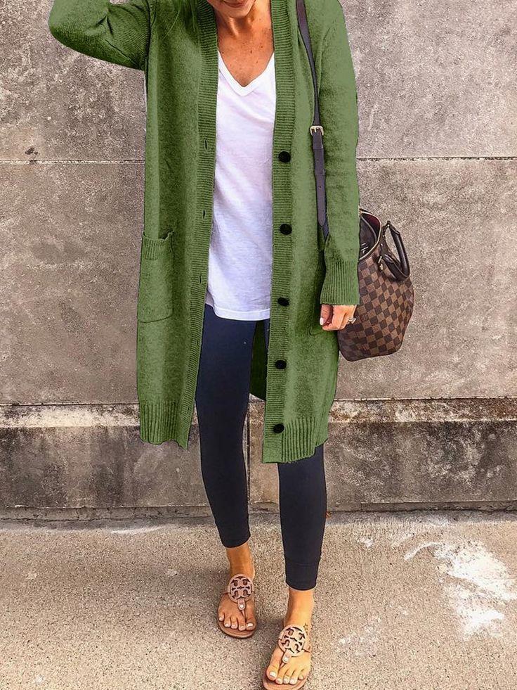 Solide Einreiher Pocket Design Coat #Breasted #Mantel #Design #Tasche #Einzel –
