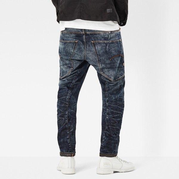 G-Star Raw Type C 3d Tapered Jeans ($170) ❤ liked on Polyvore featuring men's fashion, men's clothing, men's jeans, mens denim jeans, mens loose fit jeans, mens vintage jeans, mens tapered jeans and mens button fly jeans