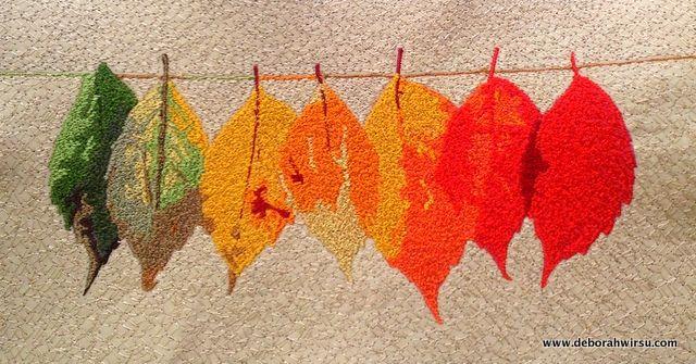 Thread Painted Autumn Leaves | Thread Sketching in Action | Deborah Wirsu | free motion stitching demonstration |