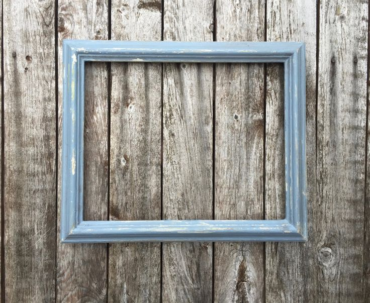 """Rustic Picture Frame,  Distressed Picture Frame, Solid Wood 1"""" Shabby Chic Farmhouse Blue Picture Frames by BillyBeesArt on Etsy"""