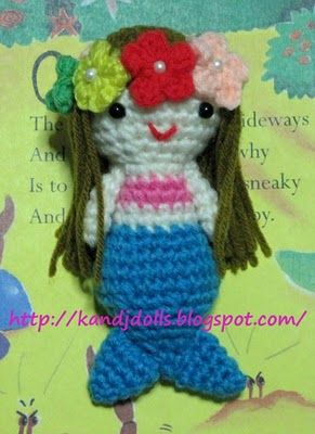 Little Mermaid, free Amigurumi crochet pattern ~ Amigurumi crochet patterns ~ K and J Dolls / K and J Publishing