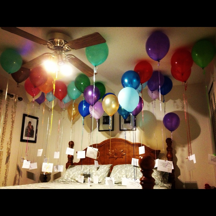 Birthday ideas for husband .. Gave this to him on his 38th birthday.. 38 balloons with 38 messages of why I love him
