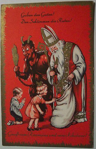 Gezellig, de duivel aanbidden, je ziel in ruil voor cadeautjes?? En niet vrijwillig, dan maar met dreigen dat je geofferd wordt (denk maar niet dat je in de zak meegaat om in Madrid aan het zwembad te kunnen zitten)... Vintage Christmas Krampus Postcard.