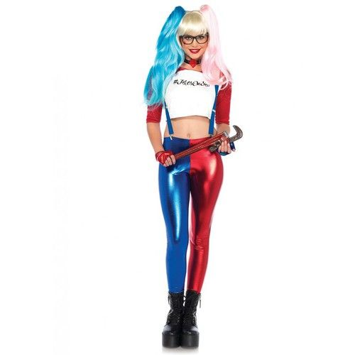 """This is one costume that is sure to be """"hip"""" this year! Includes top, leggings, glasses frames, suspenders, choker and gloves. The Misfit Hipster Harley Quinn costume will have you feeling misunderstood - in a good way - this year at your Halloween party or event. #yyc #Calgary #costume #hipster #HarleyQuinn #comicbookcharacter #ladies"""