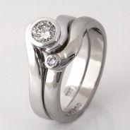 Wedding ring set ladies palladium diamond wedding