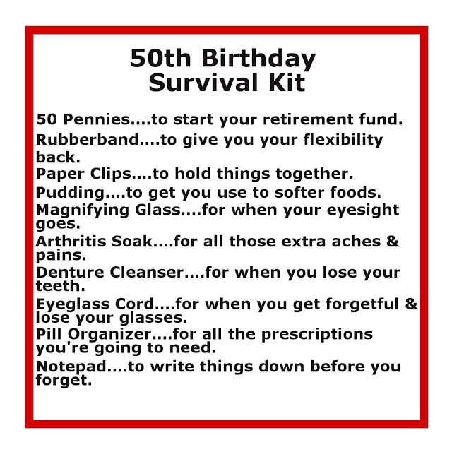 Delightfully Noted: 50th Birthday Survival Kit