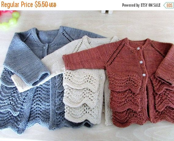 ON SALE Flouncy Baby Cardigan Knitting by BiggerthanlifeKnits
